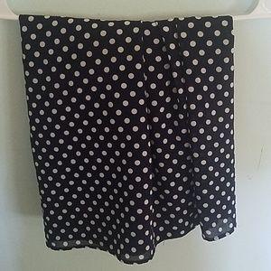 Blue and white polka dot skirt
